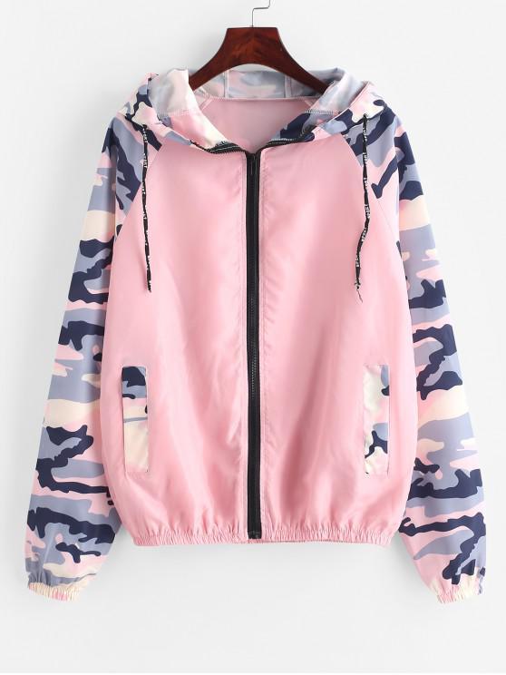 outfit Camo Sleeve Hooded Zip Windbreaker Pocket Jacket - PINK S