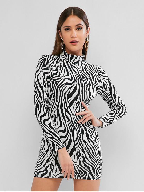 ladies Zebra Print Mock Neck Bodycon Mini Dress - MULTI-A L