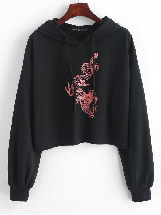 buy ZAFUL Dragon Print Drop Shoulder Drawstring Hoodie - BLACK S