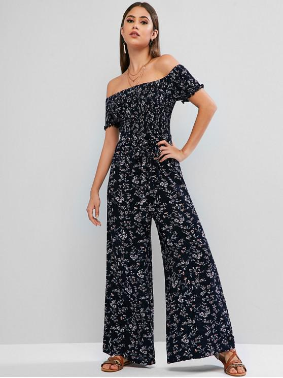 outfit ZAFUL Smocked Ditsy Floral Off Shoulder Wide Leg Jumpsuit - DEEP BLUE XL
