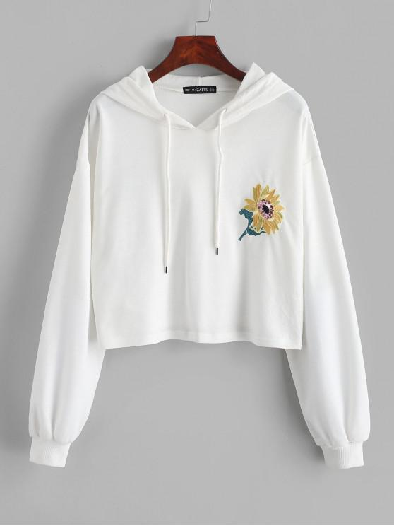 trendy ZAFUL Flower Embroidered Sequined Drop Shoulder Hoodie - WHITE M