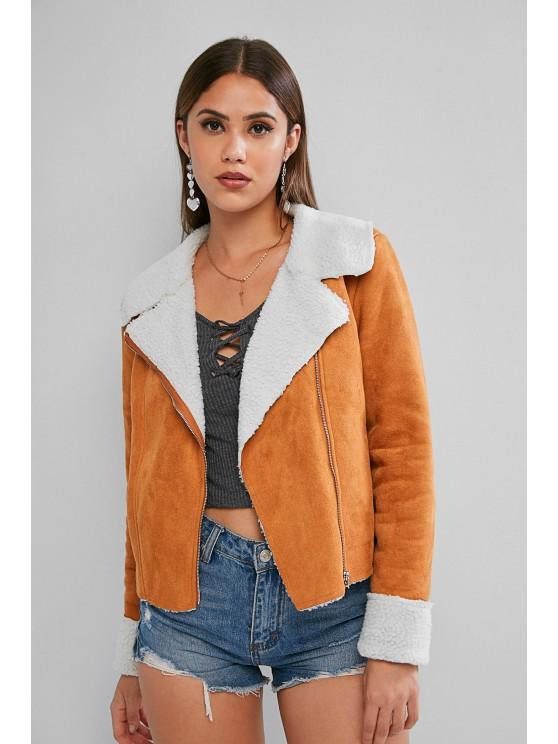 affordable ZAFUL Zip Up Cuffed Sleeve Faux Shearling Suede Jacket - CARAMEL M
