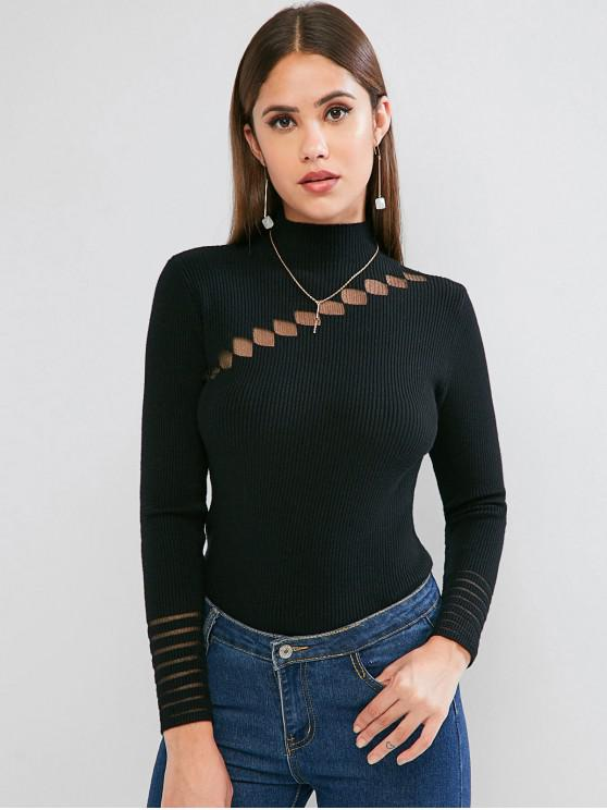 hot Lace Insert Mock Neck Ribbed Sweater - BLACK ONE SIZE