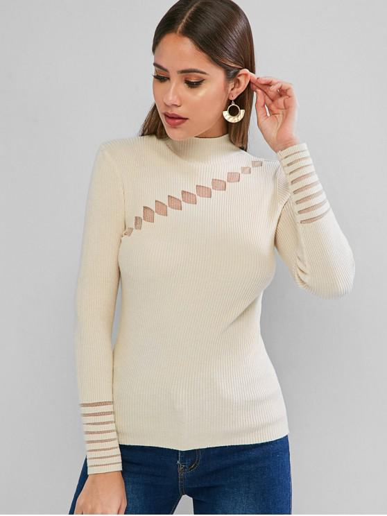 shop Lace Insert Mock Neck Ribbed Sweater - BEIGE ONE SIZE