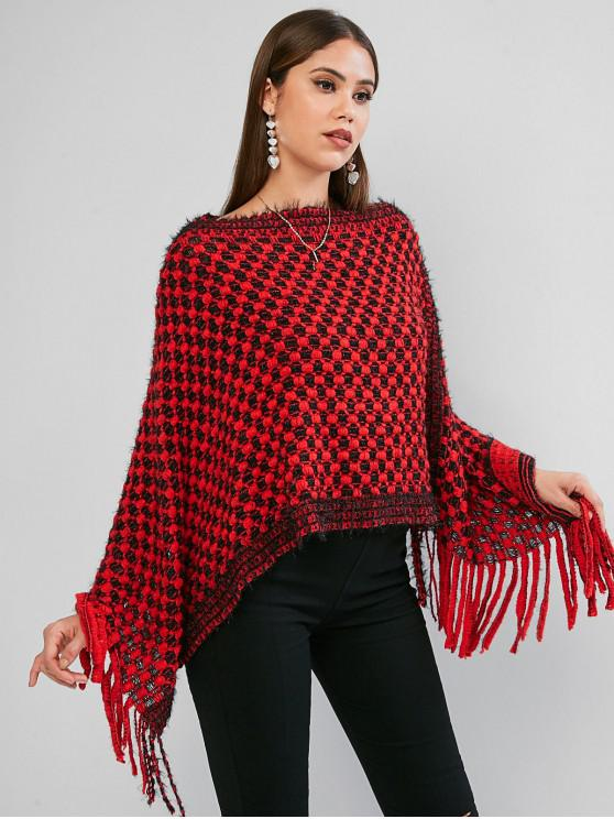 chic Fringed Poncho Sweater - CHESTNUT RED ONE SIZE