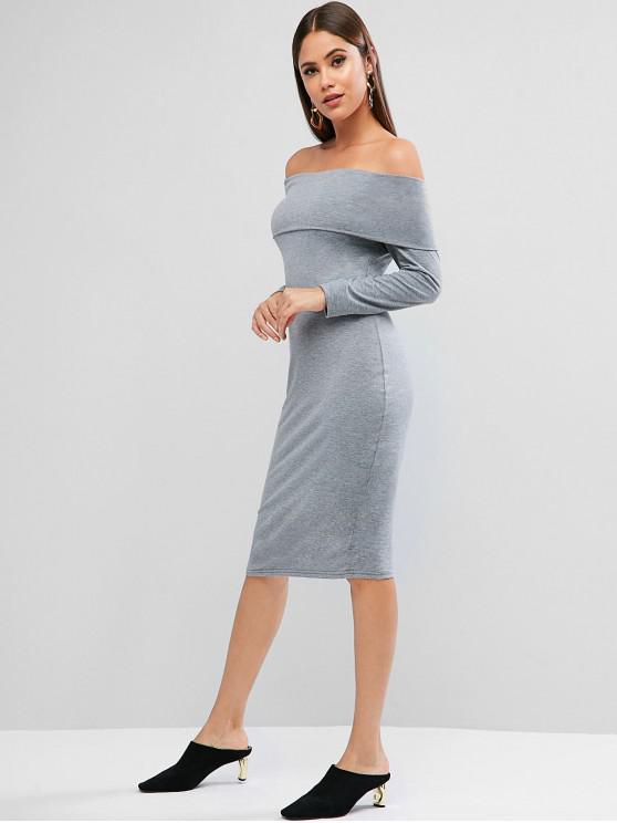 latest Foldover Off Shoulder Long Sleeve Bodycon Dress - DARK GRAY XL