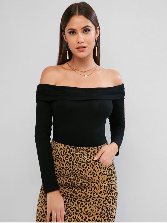 shop ZAFUL Off Shoulder Rib Knit Long Sleeve Bodysuit - BLACK L