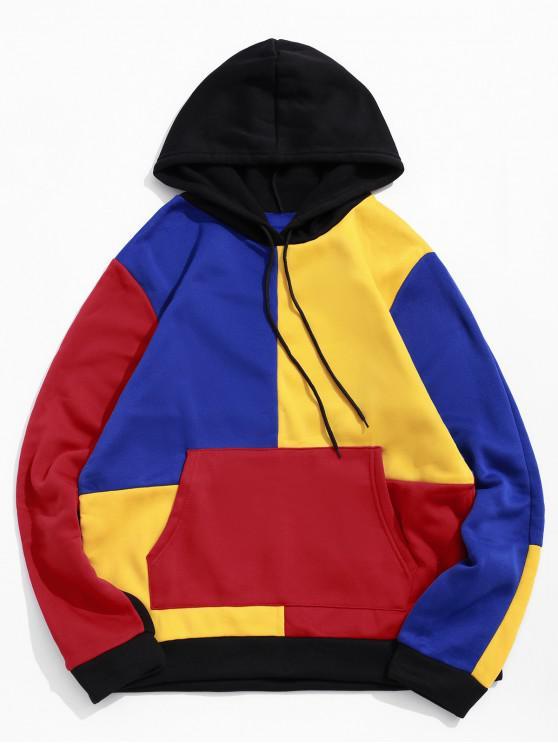 outfit Color-blocking Spliced Kangaroo Pocket Drawstring Hoodie - RED XS