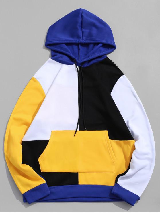 womens Color-blocking Spliced Kangaroo Pocket Drawstring Hoodie - WHITE XS