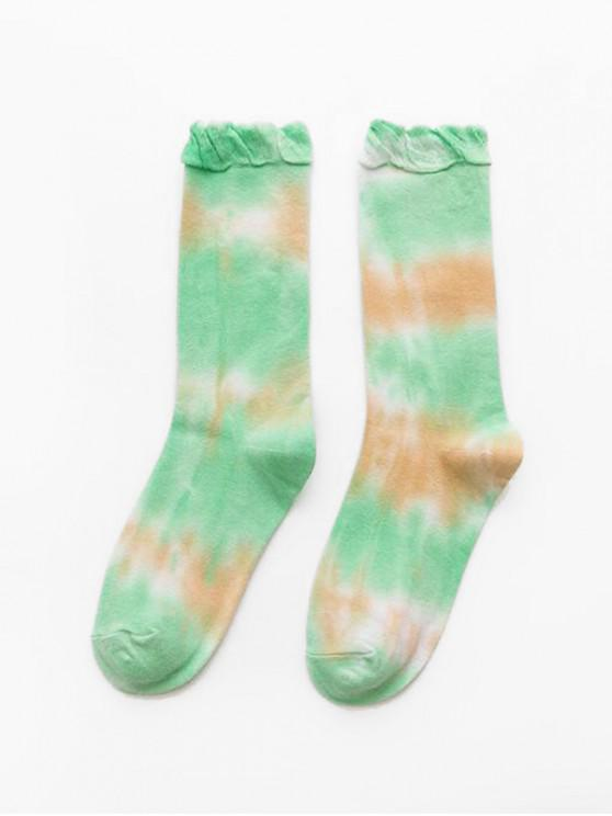 shops Sports Ruffle Tie Dyed Crew Length Socks - GREEN