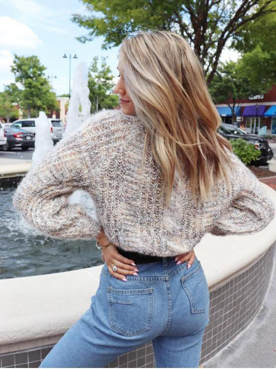 lady ZAFUL x Yasmine Bateman Heathered Cable Knit Chunky Sweater - MULTI S