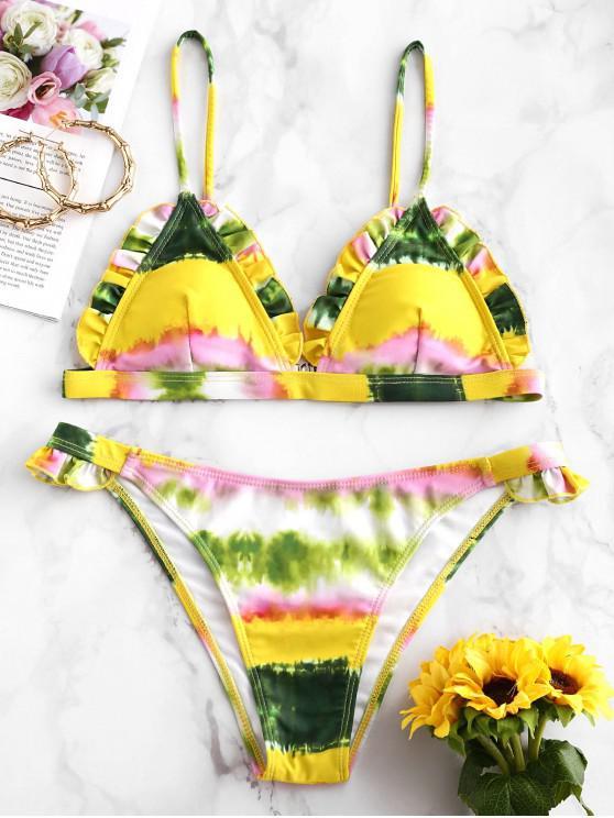 shop ZAFUL Frilled Tie Dye Bikini Swimsuit - MULTI-A M