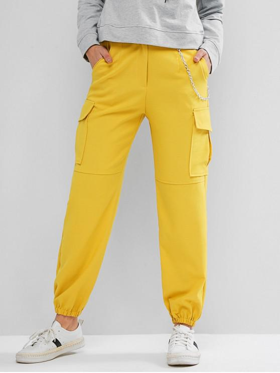 women Flap Pockets Chain Jogger Pants - YELLOW S