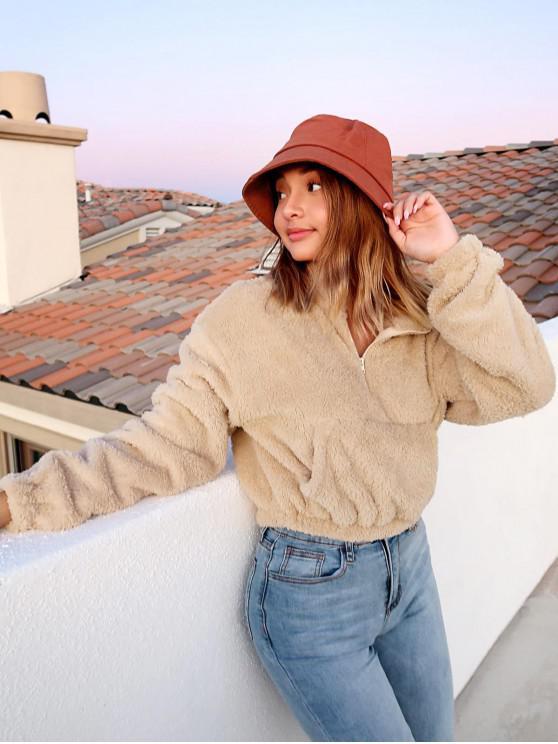 fashion ZAFUL x Alexis Ricecakes Front Pocket Solid Crop Faux Fur Sweatshirt - LIGHT KHAKI S