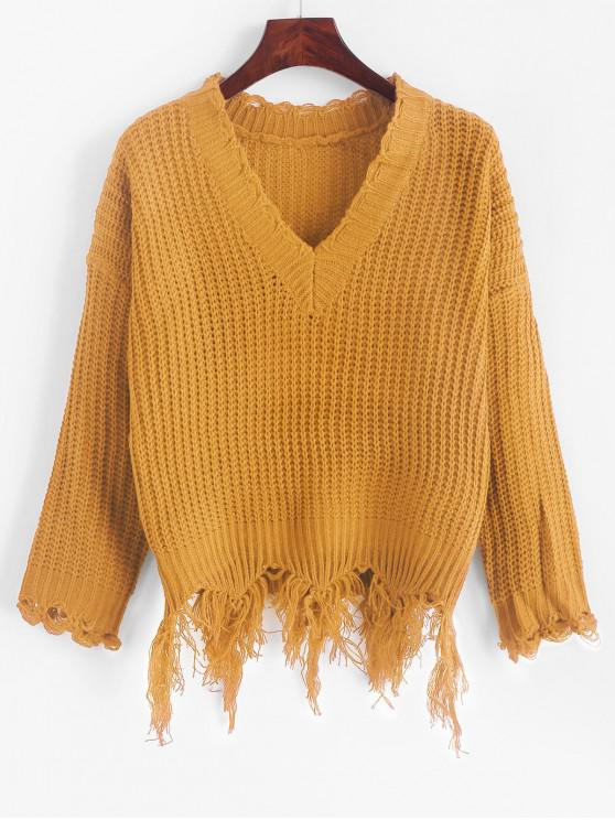 fancy Ripped Drop Shoulder V Neck Sweater - YELLOW ONE SIZE
