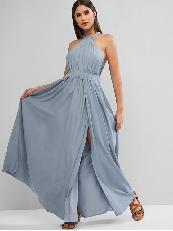 fashion ZAFUL Keyhole Back High Slit Maxi Prom Party Dress - SLATE BLUE S
