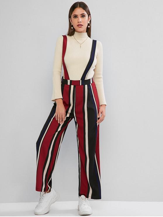 chic Wide Leg Multi Striped Suspender Pants - MULTI S