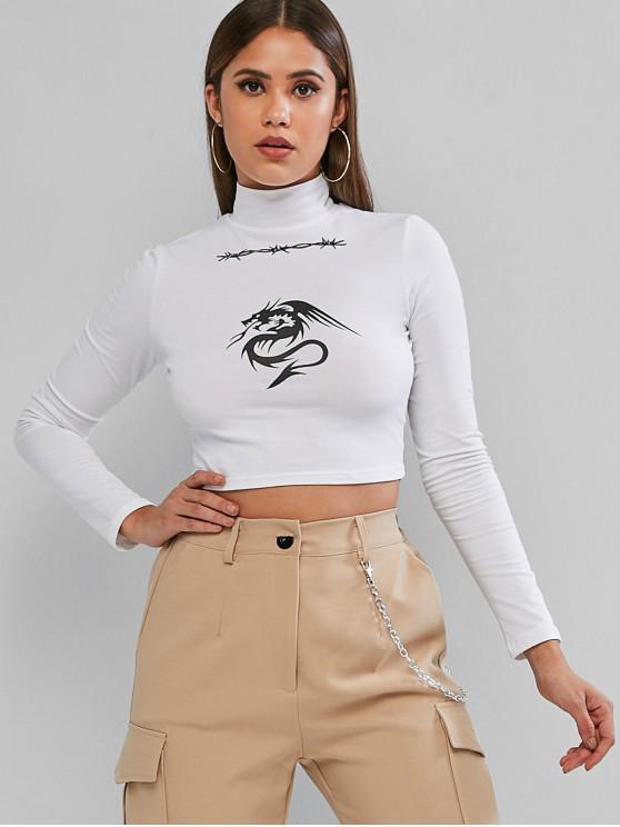 T-Shirt Court Graphique Dragon à Col Montant - Blanc S