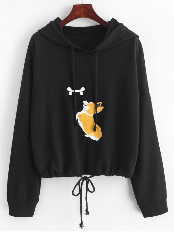 ladies ZAFUL Funny Dog Graphic Drop Shoulder Drawstring Hoodie - BLACK XL