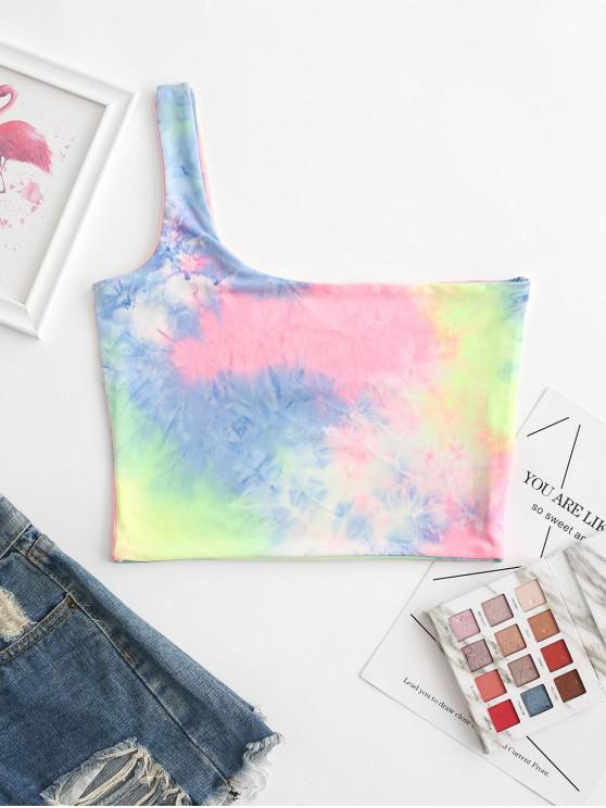 online One Shoulder Tie Dye Crop Tank Top - MULTI-A L