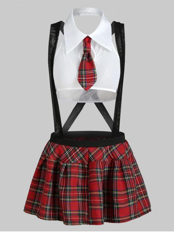 latest Plaid Suspender Schoolgirl Lingerie Costume - WHITE S