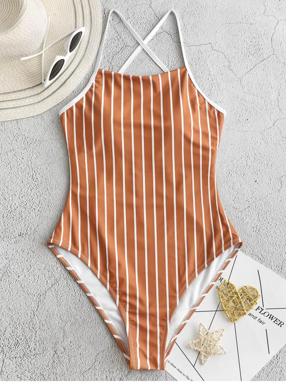 unique ZAFUL Pinstriped Lace-up One-piece Swimsuit - RUST M