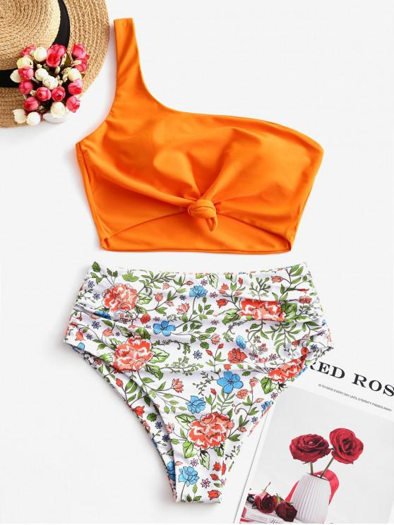 shop ZAFUL Flower One Shoulder Knotted Tummy Control Tankini Swimsuit - MULTI-A M
