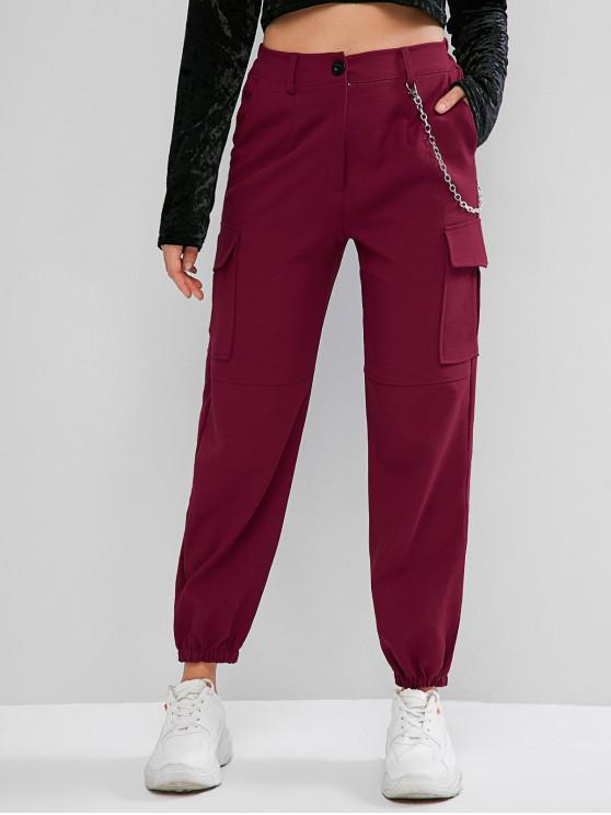ladies Flap Pockets Chain Jogger Pants - RED WINE XL