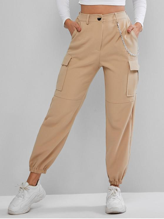 trendy Flap Pockets Chain Jogger Pants - LIGHT KHAKI S