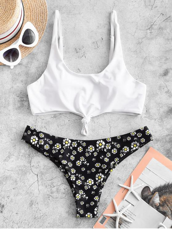 fancy ZAFUL Knot Daisy Print Bikini Swimsuit - WHITE L