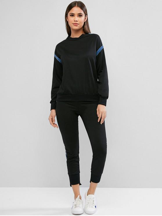 lady Two Piece Contrast Flocked Sweatshirt And Pants Sports Suit - BLACK M