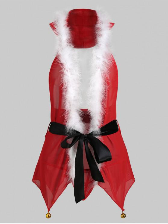 fancy Halter Bells Christmas Lingerie Babydoll Set - RED 2XL