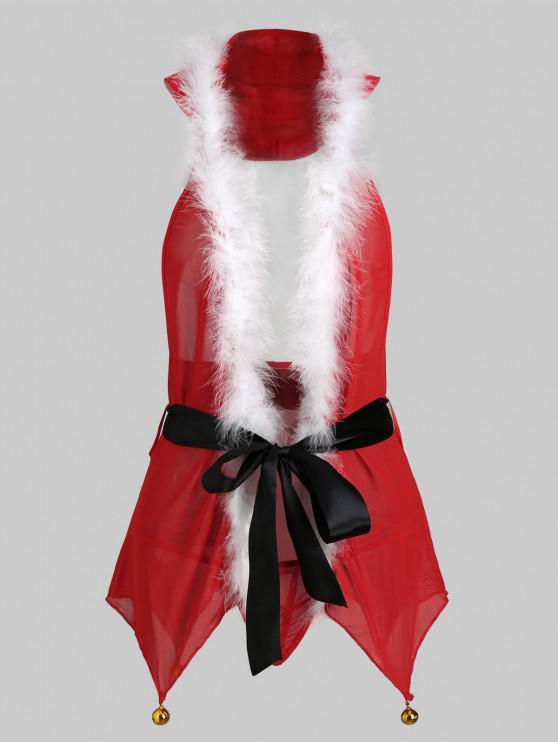 unique Halter Bells Christmas Lingerie Babydoll Set - RED XL