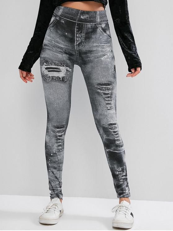High Rise Impreso flaco Jeggings - Gris XL