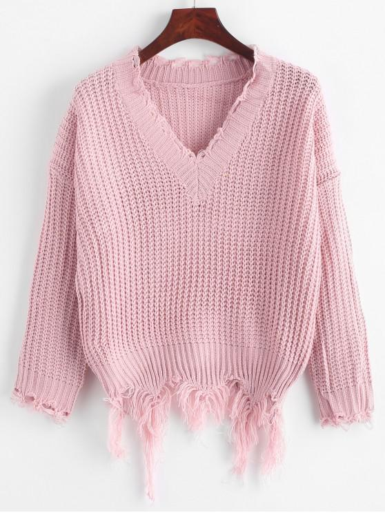 shop Ripped Drop Shoulder V Neck Sweater - PINK ONE SIZE