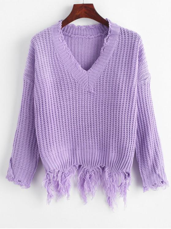 trendy Ripped Drop Shoulder V Neck Sweater - PURPLE ONE SIZE