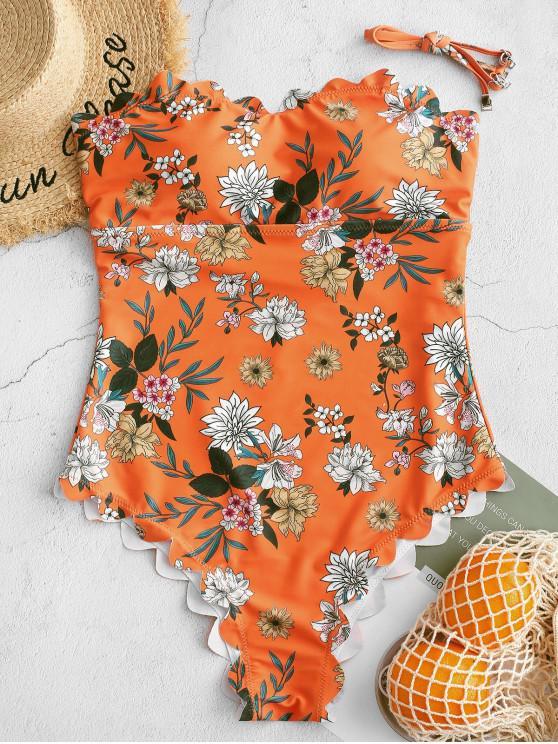 ZAFUL Maillot de Bain Festonné Bandeau Fleuri Une-Pièce - Orange Mangue XL