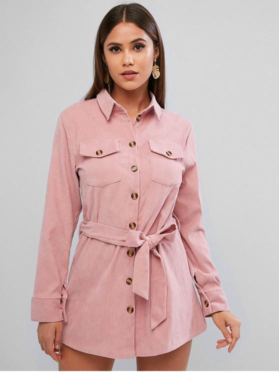 Cu maneci lungi Clapeta de buzunare Corduroy rochie camasa - Trandafir roz L