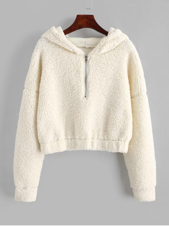 outfit ZAFUL Drop Shoulder Half Zip Fluffy Teddy Hoodie - WHITE L