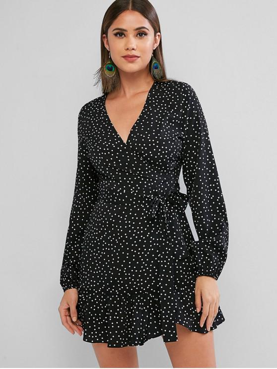 trendy ZAFUL Long Sleeve Dotted Belted Mini Dress - BLACK L