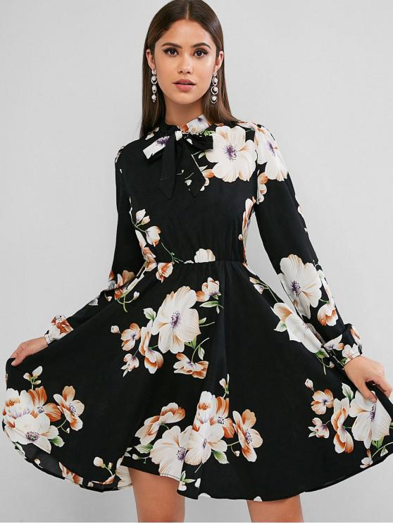 affordable ZAFUL Long Sleeve Floral Bow Tie Mini Dress - MULTI-A XL