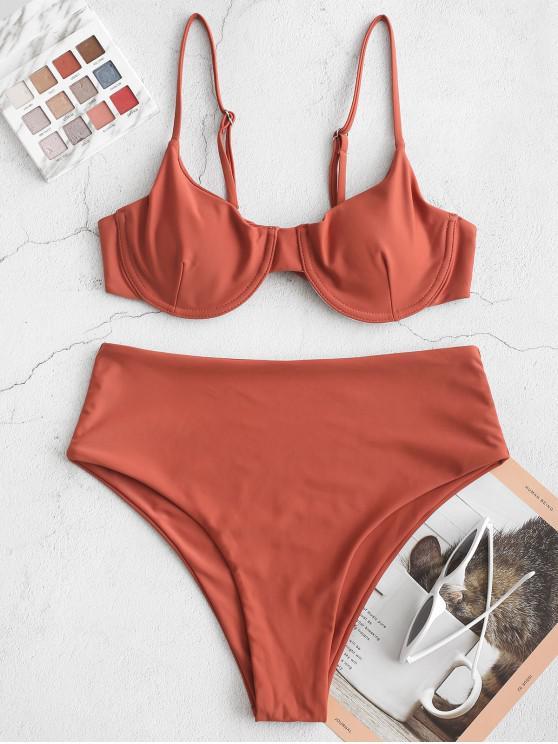 shops ZAFUL Underwire Knot High Waisted Bikini Swimsuit - RUST S