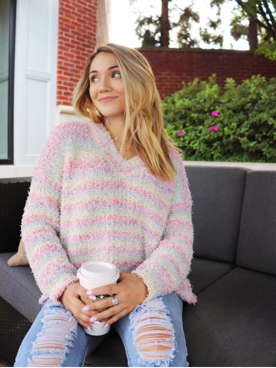 lady ZAFUL x Yasmine Bateman V Neck Striped Popcorn Knit Sweater - MULTI-A M