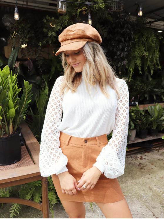 shop ZAFUL x Yasmine Bateman Openwork Sleeves Solid Round Neck Tee - WHITE M