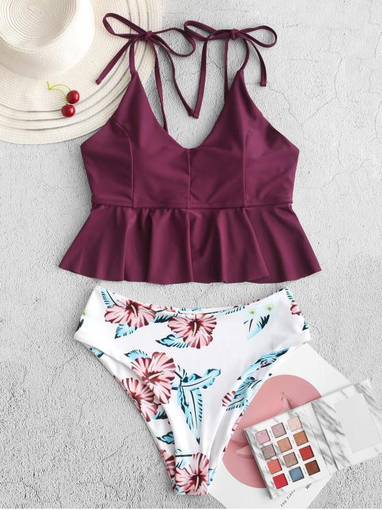 online ZAFUL Flower Peplum High Leg Tankini Swimsuit - MAROON S