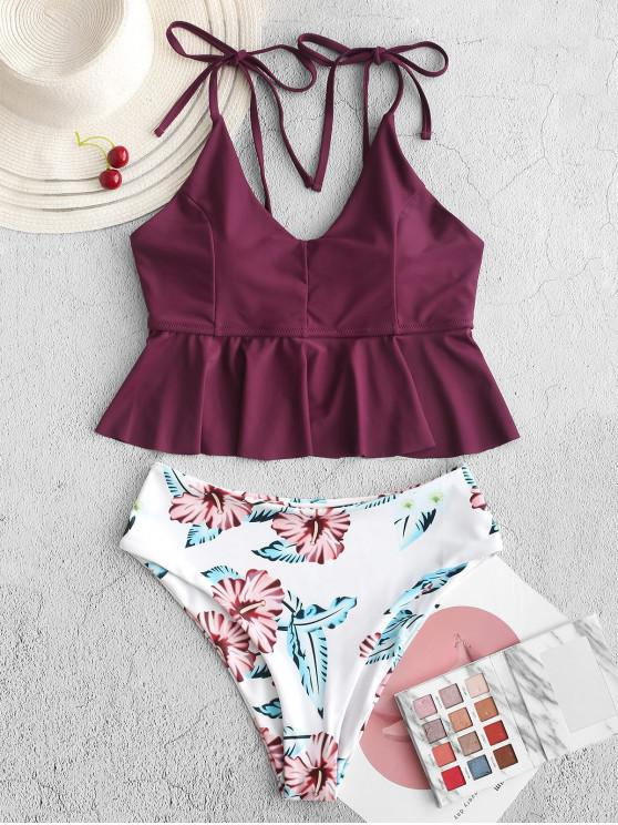 shops ZAFUL Flower Peplum High Leg Tankini Swimsuit - MAROON XL