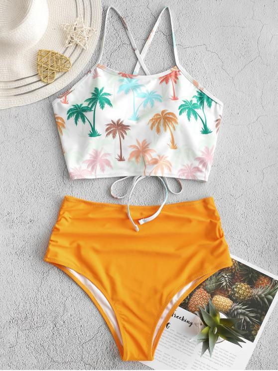 lady ZAFUL Coconut Palm Lace Up Tummy Control Tankini Swimsuit - MULTI-A XL