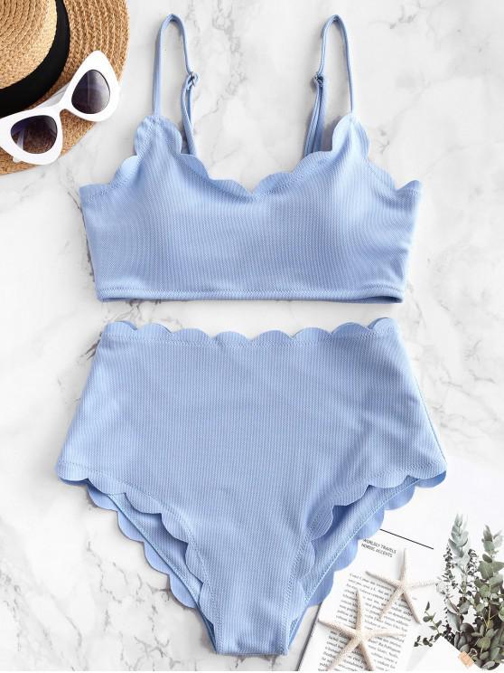 womens ZAFUL Textured Scalloped High Waisted Bikini Swimsuit - JEANS BLUE M