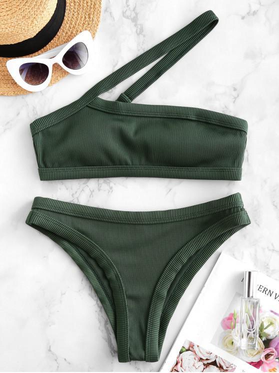 ZAFUL Bikini Acanalado con Un Hombro con Textura - Verde Oscuro S