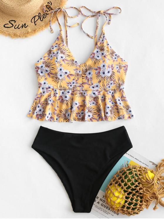 shop ZAFUL Peplum Flower High Leg Tankini Swimsuit - MULTI-A XL